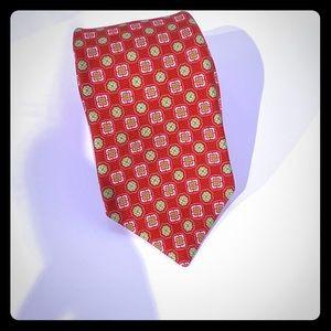 Kiton Napoli red green and white tie